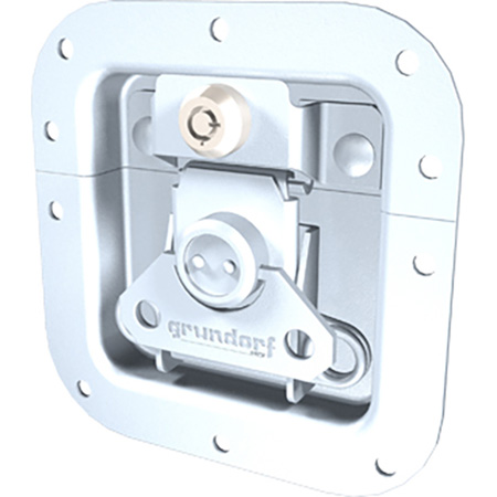 Grundorf Key Lockable Medium Recessed Replacement Catch in Zinc for Carpet Cases