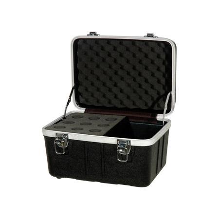 Grundorf ABS-MC09C Microphone Case - Holds 9 Mics w/ Storage Compartment