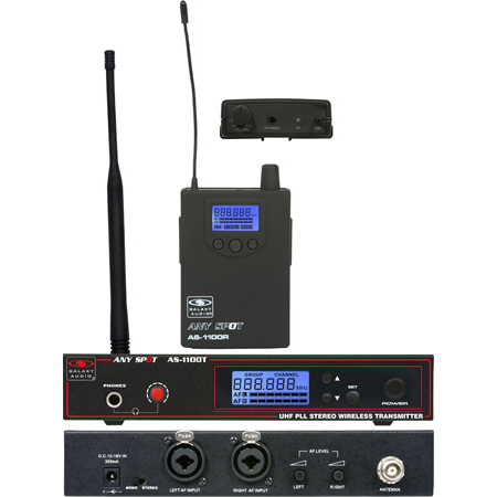 Galaxy Audio AS-1100 Wireless In-ear Personal Monitor System 120 Selectable Channels Code N: 518-542 MHZ w /  EB4 Ear Buds