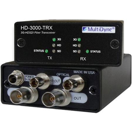 Multidyne HD-3000-TRX-ST 3G Two-Way Multi-rate HDSDI Over Fiber Optic Converter / Transceiver Over 2 Fiber Connections