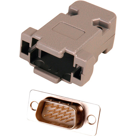 15-Pin HD Male D-Sub Connector with Plastic Hood  (DP15HD and DE15B)