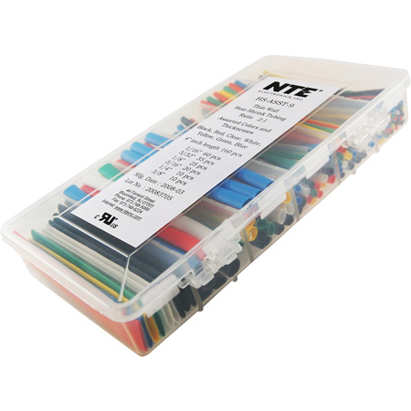 NTE HS-ASST-9 Master Heat Shrink 160 Piece 4 Inch 2-to-1 Shrink Tubing Kit Assorted Colors