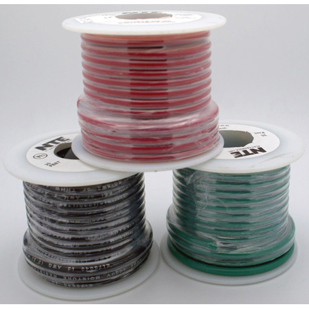NTE Electronics 18 AWG 300V Stranded Hook-Up Wire 100 Foot Spool Gray