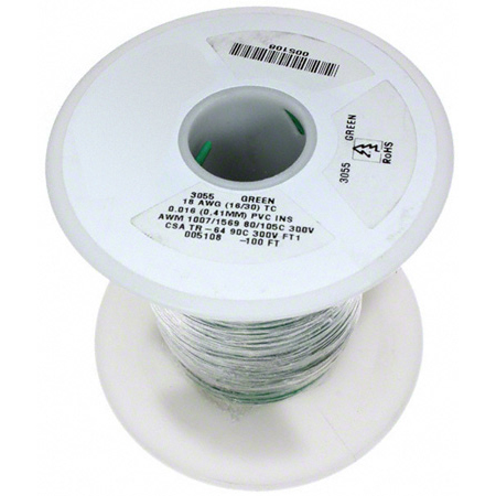NTE Electronics 24 AWG 300V Stranded Hook-Up Wire 100 Foot Spool Blue