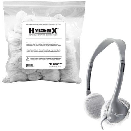 HygenX X19HSPWHB Sanitary Disposable Headphone Covers PPE 2.5-Inch in White - Bulk Bag 1000 Pairs