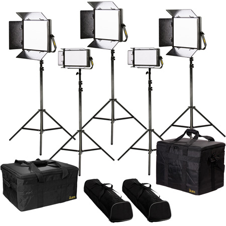 ikan LW-3F2H Lyra Daylight 5-Point LED Soft Panel Light Kit with 3x LW10 2x LW5 with Gold & V-Mount Battery Plates
