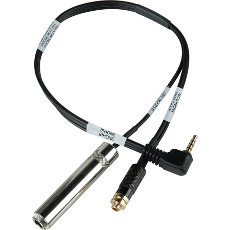 Sescom IPHONE-ML14-1RA Monitoring Cable iPhone/iPod/iPad Right-Angle 3.5mm TRRS Plug to 1/4 TS Mono Jack Guitar Level an
