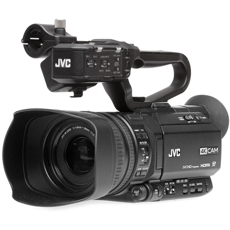JVC GY-HM250U 4K Camcorder with Lower-Third Graphic Overlays and AC Power Supply