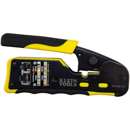 Klein Tools VDV226-110 Pass-Thru Modular Crimper Tool - Yellow / Black