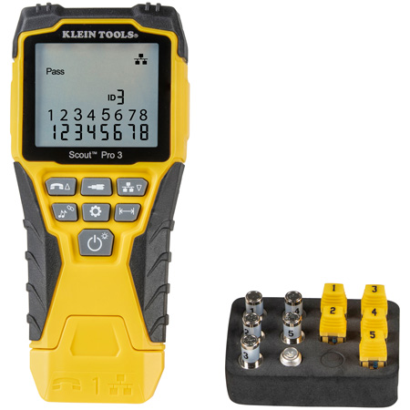 Klein Tools VDV501-851 Cable Tester Kit with Scout® Pro 3 Tester - Remotes - Adapter - Battery