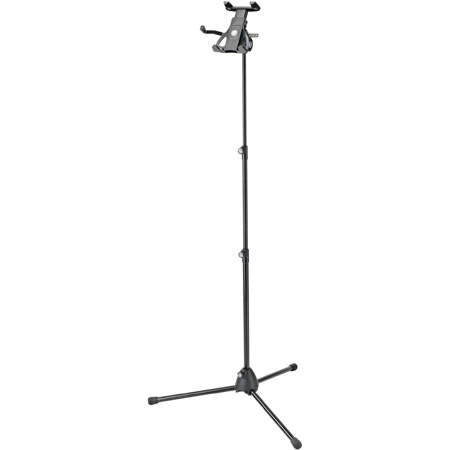 K&M 19776 Universal Tablet Holder with Mic Stand - Euro 3/8 Inch Thread - Black