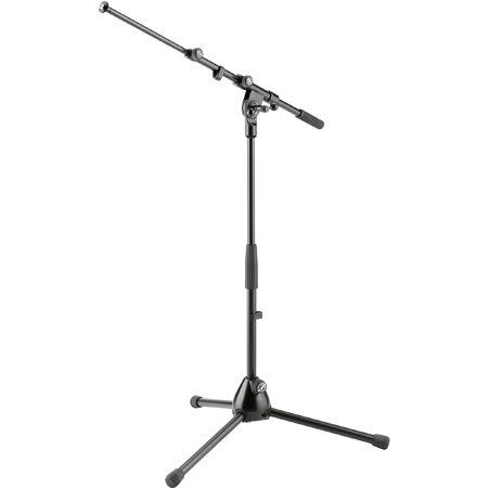 K&M 259 Low-Level Tripod Telescopic Microphone Stand with Foldable Legs and 2-Piece Boom Arm - Black