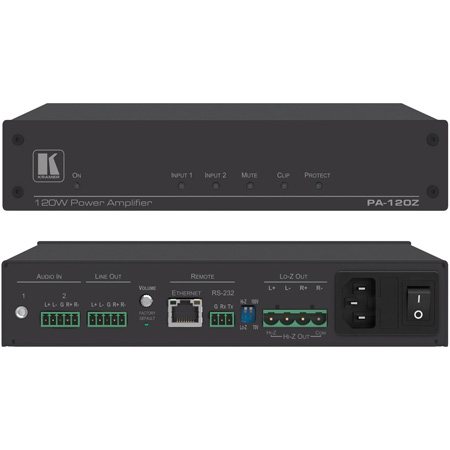 Kramer PA-120Z Controllable Power Amplifier - 1 x 120W at 70V/100V and 2 x 60W at 8 Ohm