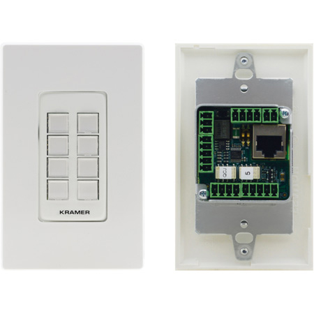 Kramer RC-308/US-D(W/B) 8-Button PoE and I/O Control Keypad 1-Gang Control Keypad - (1)White and (1)Black Faceplate
