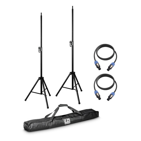 LD Systems DAVE8-SET2 - 2X Speaker Stand w/Transport Bag & 2X Speaker Cable 5mm for Dave 8 System