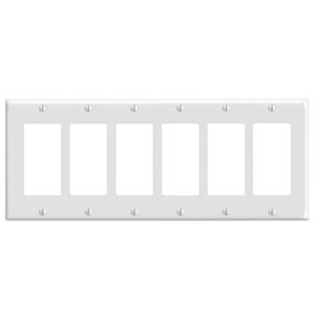 Leviton 80436-W 6-Gang Decora/GFCI Device Decora Wallplate/Faceplate Standard Size Thermoset Device Mount - White