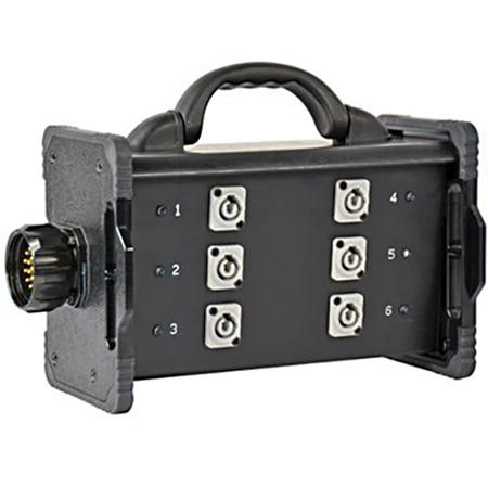Lex BNZJ2-6M-CLP Bento Enclosure LSC19 Panel Mount Inlet with Feed Thru (6) 20A Neutrik PowerCon C-Clamp Mountable Type1
