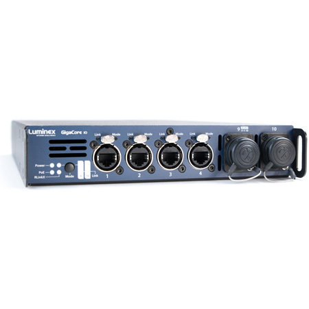 Luminex GigaCore 10 Ethernet Switch with 8 Shielded Neutrik Ethercon Connectors