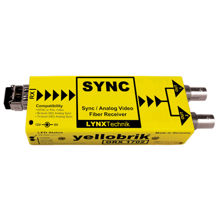 Lynx Yellobrik ORX 1702-ST Analog Video/Sync Singlemode 1310nm Fiber Receiver ST Connector