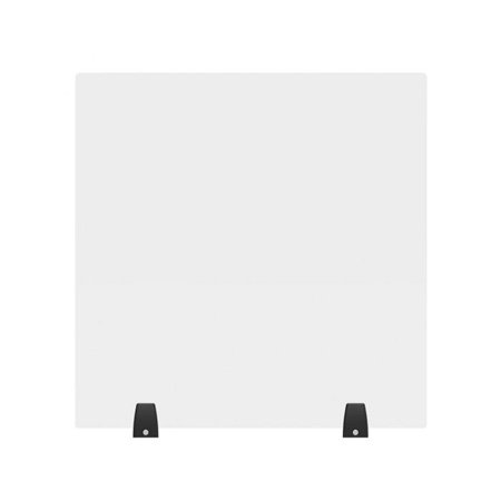 Luxor DIVTT-2424C RECLAIM Acrylic Sneeze Guard 24x24-Inch Clear Divider with 2 Tabletop Feet