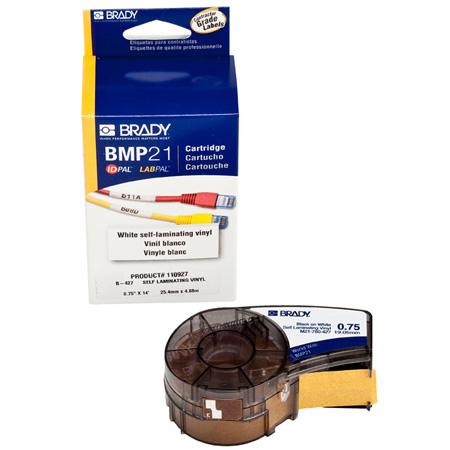 Brady M21-750-427 Self-Laminating Black on White/Translucent Tape 3/4x14 ft