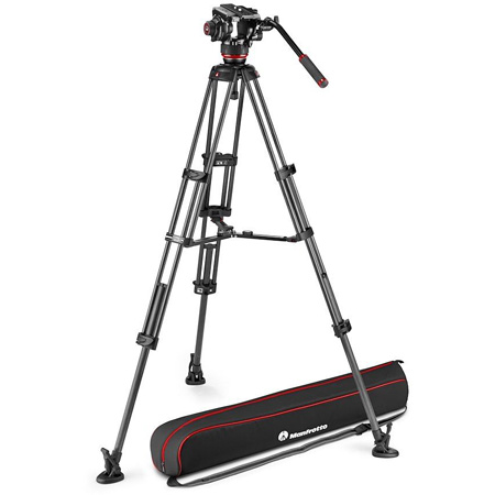 Manfrotto MVK504TWINMC 504X Fluid Video Head with Carbon Fiber Twin Leg Video Tripod and Middle Spreader