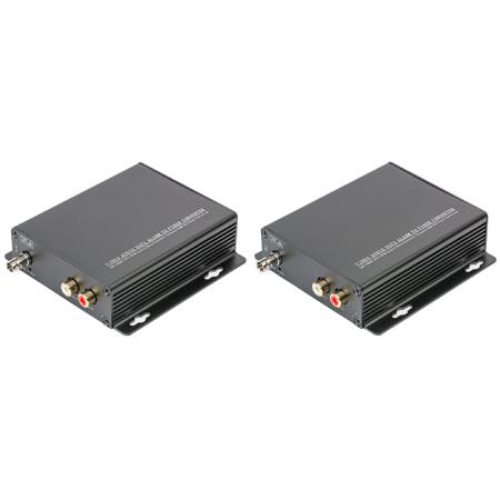 Stereo Audio Dual RCA to ST Fiber Optic Extender / Converter Set Single Mode 1550nm DFB