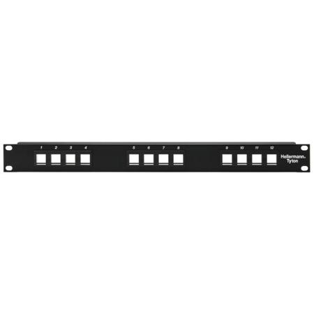HellermannTyton P108-12-MOD Snap-In Blank Keystone Rack Panel - 1 Row of 12 ports (1RU)