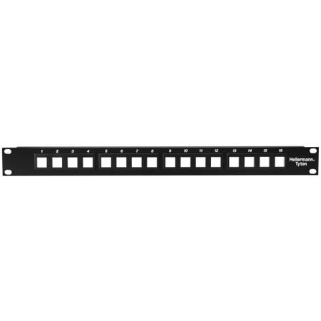 HellermannTyton P108-16-MOD Snap-In Blank Keystone Rack Panel - 1 Row of 16 ports (1RU)