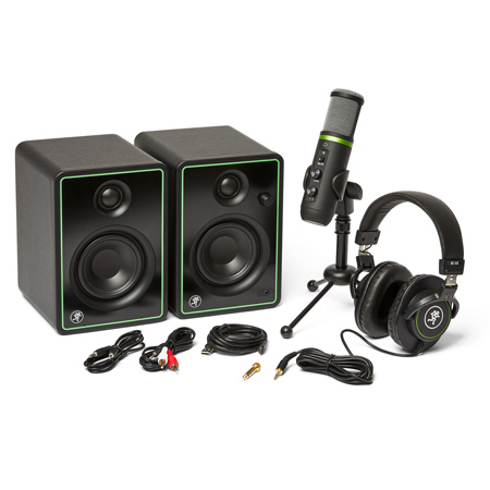 Mackie Content Creation Bundle with CR3-X Monitors - EM-USB Condenser Microphone & MC-100 Headphones