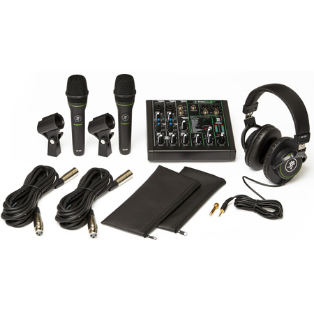 Mackie Performance Bundle with ProFX6v3 Effects Mixer with USB - Two EM-89D Dynamic Microphones & MC-100 Headphones