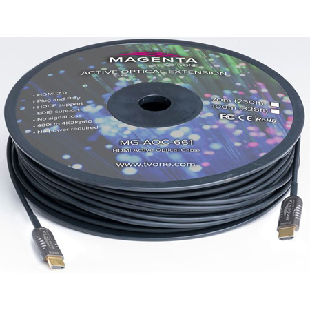 Magenta Research MG-AOC-662-10 HDMI 2.0 Active Optical Plenum Cable - 33 Foot (10m)