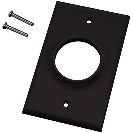 Single Gang Black Wireport Cable Pass Through Plate