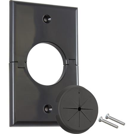 Midlite 1GSBK-GR1 Single Gang Split Port with Grommet - Black