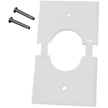 Single Gang White Split-Port Cable Pass Through Plate