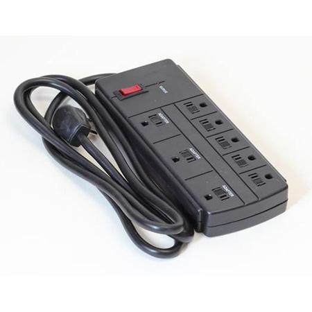 Milspec D155400BK 8 Outlet Surge Strip with 6 Foot Cord - Black