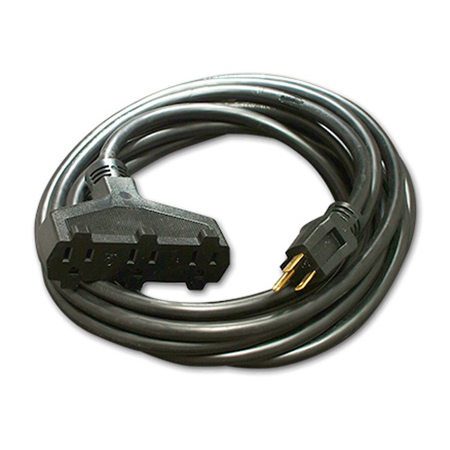 Milspec D15623010 ProPower Tri-Tap Cordset 12/3 AC Extension Cord - Black - 10 Foot