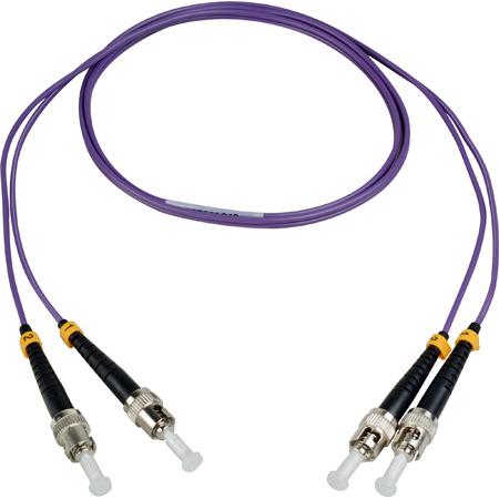 Camplex MMDM4-ST-ST-001 OM4 10/40/100G Multimode Duplex ST to ST Fiber Patch Cable - Purple 1 Meter