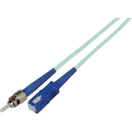 3-Meter 50/125 Fiber Optic Patch Cable Multimode Simplex ST to SC - 10-Gig Aqua