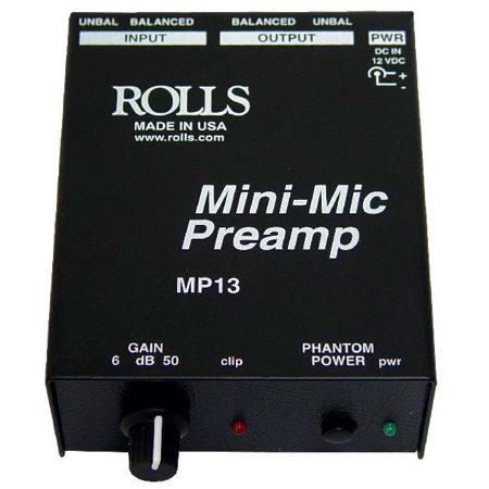 Rolls MP13 Mini-Mic Preamp XLR-1/4 Phantom