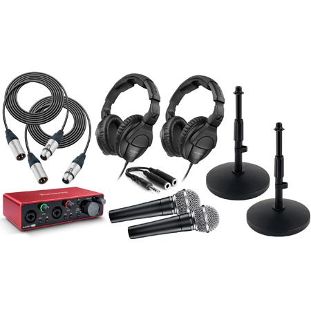 Focusrite Scarlett 2i2 USB Audio Interface Podcast Kit with 2 Shure SM58 Vocal Mics & 2 Sennheiser HD-280 PRO Headphones