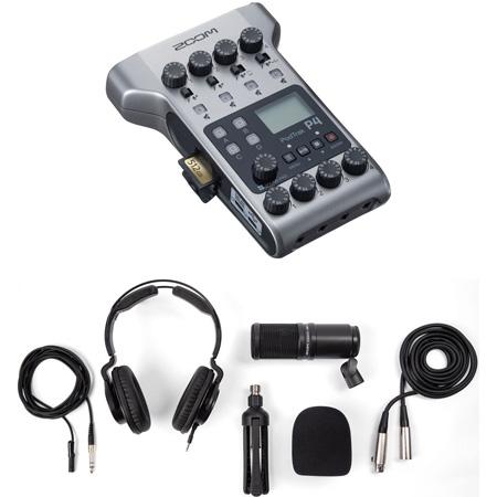 ZOOM ZP4 PodTrak P4 Podcast Recorder Kit with ZOOM ZDM-1 Podcast Mic Pack