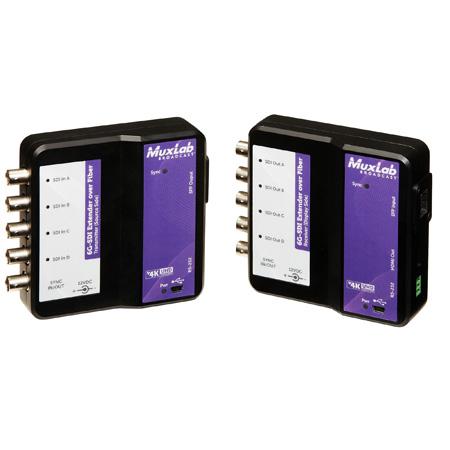 Muxlab 500732 6G-SDI Extender Over Fiber Kit (multimode) 1300ft / 400m