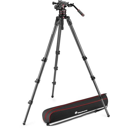Manfrotto MVK612CTALLUS Nitrotech 612 Video Head & 536 Carbon Fiber Single Leg Tripod