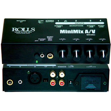 Rolls MX56c 4 Input MiniMix A/V Mixer with 1/4 Inch 1/8 Inch XLR and RCA Stereo Line Input