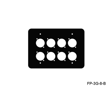 Mystery FP-3G-8-B 3-Gang Black Wall Panel 8 Each Neutrik D