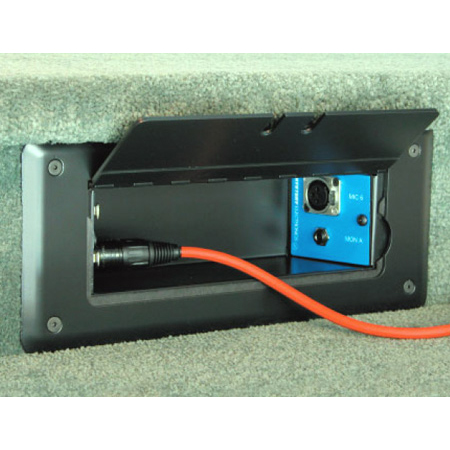Mystery Electronics TC20 Self Trimming Satin Black Floor Box with Cable Slots
