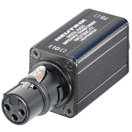 Neutrik NADITBNC-FX XLR Female 110 Ohm cable end input to BNC Female 75 Ohm output adapter