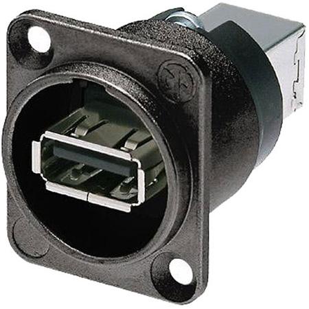 Neutrik NAUSB-W-B Reversible USB Genderchanger (Type A and B) - Black D-Housing