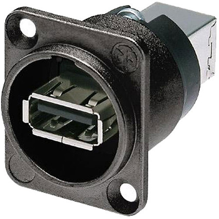 Neutrik NAUSB-W-B Reversible USB 2.0 Gender Changer - Type A & B - Black D-Housing